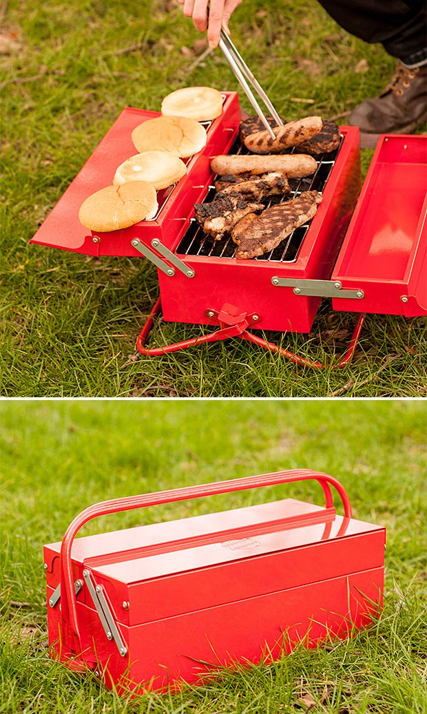 """BBQ Toolbox  If you think of barbeque as serious work, you'll see the obvious utility of this metal toolbox grill. Open the steel carrying handles & it folds out to 8 X 15"""" grill with an elevated warming rack. There's a removable tray for easy cleaning & changing the charcoal & it's finished with super-high temp paint."""