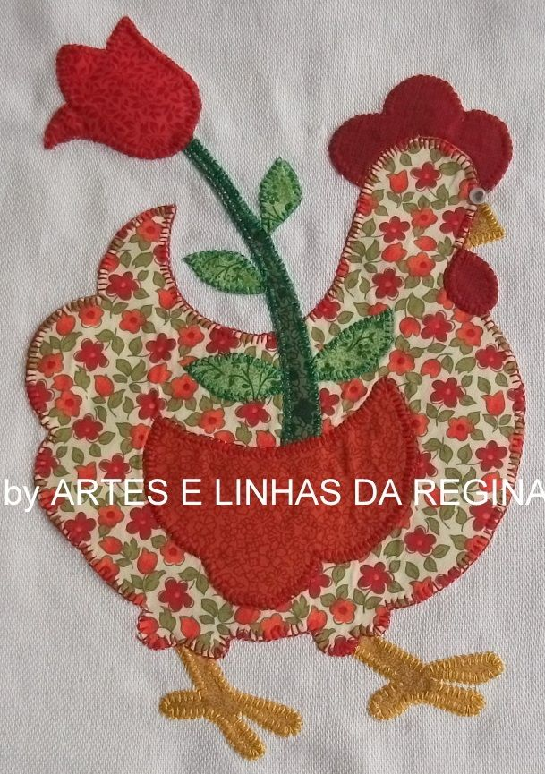 ARM - GALLINITAS. Técnica : Patchwork, pintura, bordado. PANEL./////      galinha