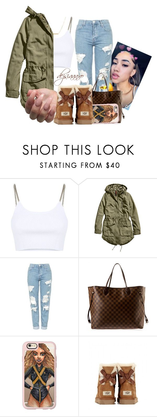 """Untitled #3"" by dejsiaaaxo ❤ liked on Polyvore featuring Alexander Wang, H&M, Topshop, Louis Vuitton, Casetify, UGG Australia and Dutch Basics"