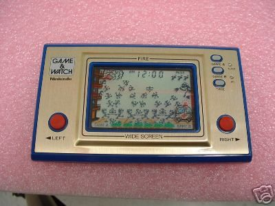 A Game & Watch. My brother and I had one each-- he had the nicer Ice Climber game while I had this repetitive/boring fireman game.
