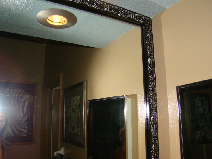 updated builders mirror using decorative wood trim painted gloss black used silver metallic. Black Bedroom Furniture Sets. Home Design Ideas
