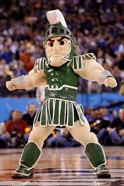 Sparty, the mascot of the Michigan State Spartans.  Click through for other college mascots too.
