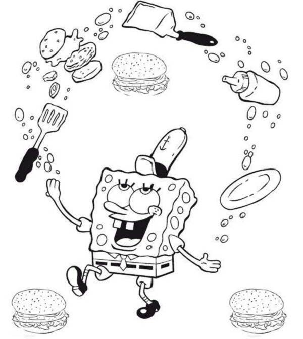 spongebob krabby patty coloring pages - photo#6