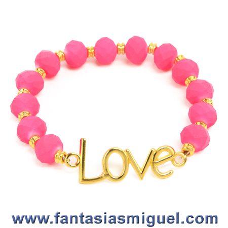 Proyectos |Pulsera con cta. caucho rosa  y dije de oro