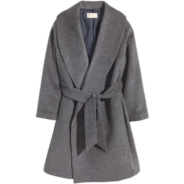 H&M Coat in a wool blend (5.760 RUB) ❤ liked on Polyvore featuring outerwear, coats, grey marl, flare coat, lapel coat, gray coat, gray shawl and shawl coat