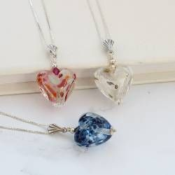 stunning harlequin glass pendant necklaces, each one is as unique as she is. Personalise the hearts with a sterling silver charm with her initial on
