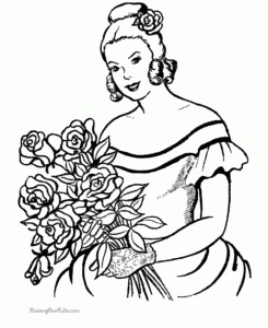 woman with flowers coloring pages