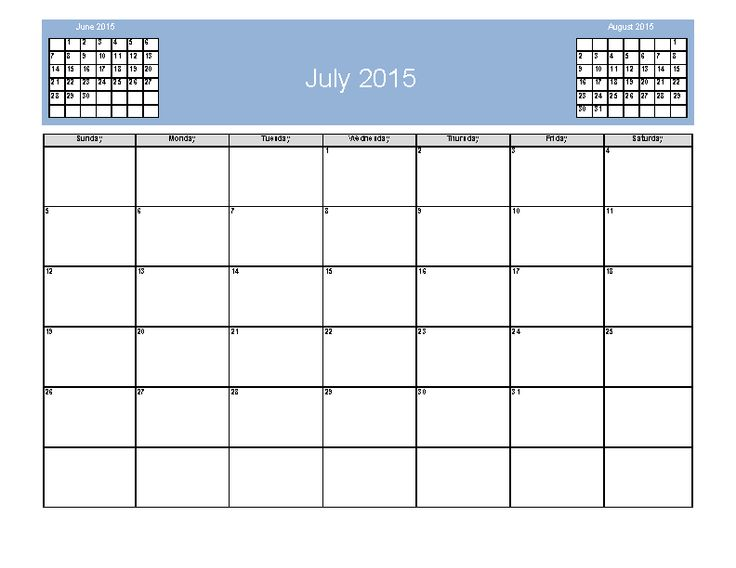Download, print and edit out July 2015 Calendar template in PDF form with June and August mini calendars and automatic text sizing