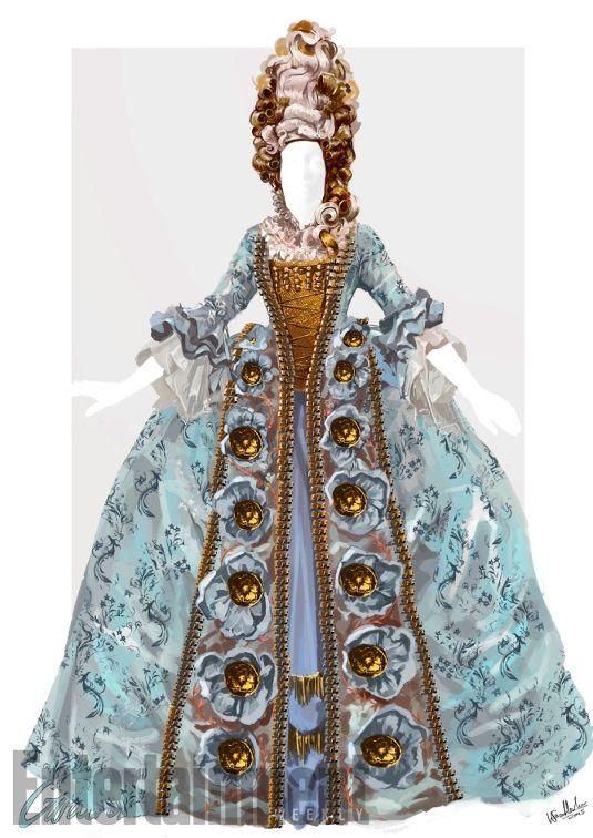 Guardaroba / Se i vestiti di Cadenza sono in qualche modo delicati, quelli di Guardaroba sono maestosi e in stile barocco. L'abito ricorda la forma dell'armadio che la donna diventerà dopo la maledizione della maga. Il costume era talmente ampio che l'attrice Audra McDonald non riusciva neanche a sedersi.