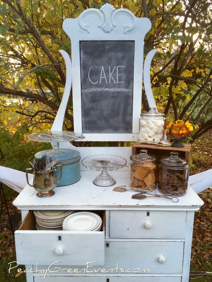 Outdoor Cake and S'more Station