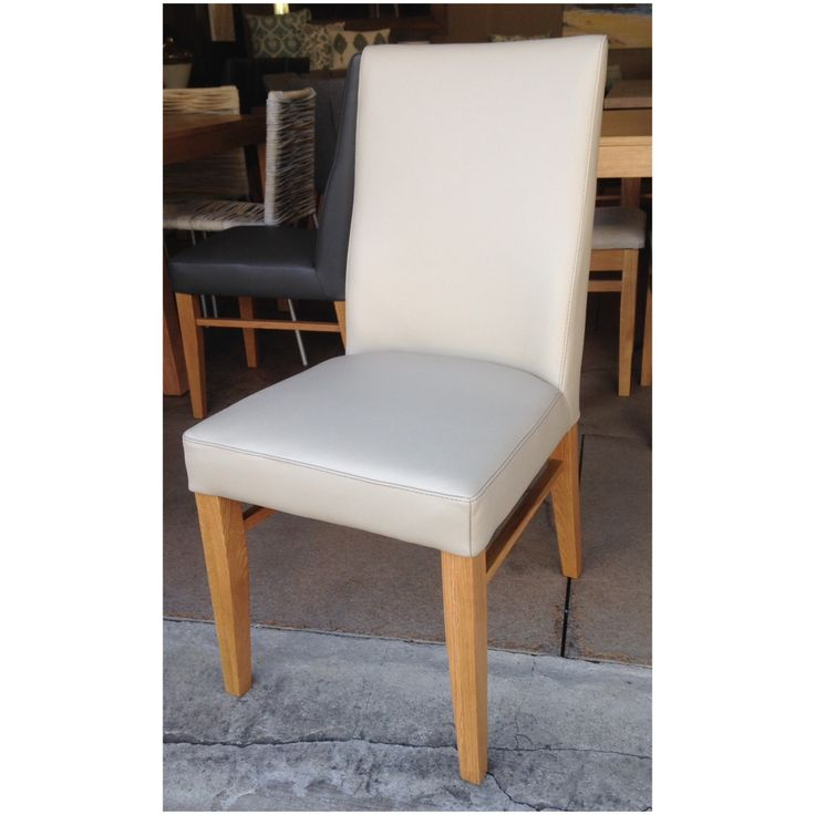 Our genuine leather dining chair in 'beige' for sale at Wildflower Furniture