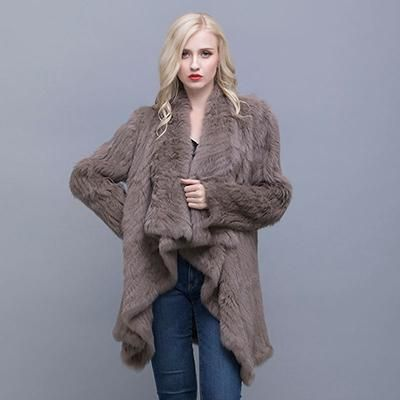 Women Winter Long Sleeve Waterfall Lapel Genuine Rabbit Fur Coat – Posh Society