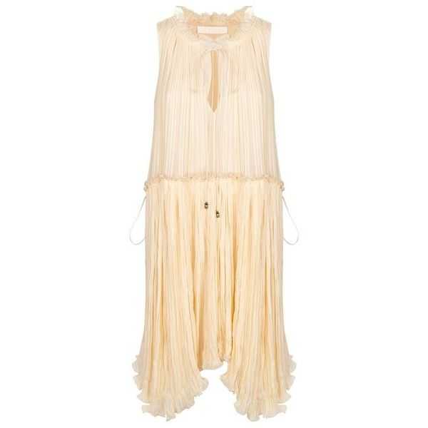 Chloé Pleated Pineapple Dress (245.810 RUB) ❤ liked on Polyvore featuring dresses, chiffon cocktail dresses, beaded cocktail dress, beige cocktail dress, ruched dress and beaded dress