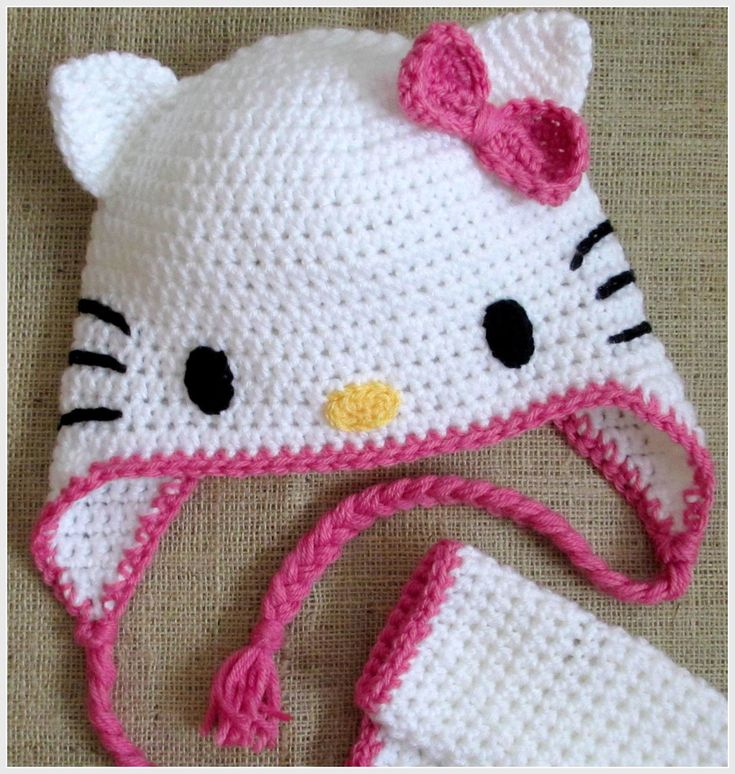 Crochet Hello Kitty Earflap Beanie Hat - Pattern Download