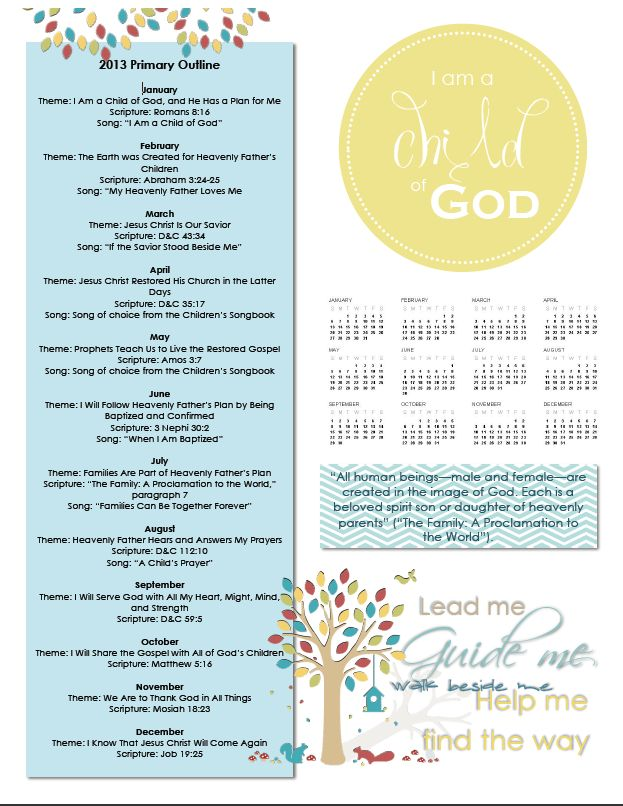 2013 Primary Binder Cover like calendar & theme scripture song all in ...