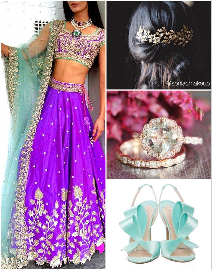 Mint and purple bridal bridal inspiration, purple lengha, boho bridal hair, vintage hair piece, diamond stacking ring, mint silk shoes