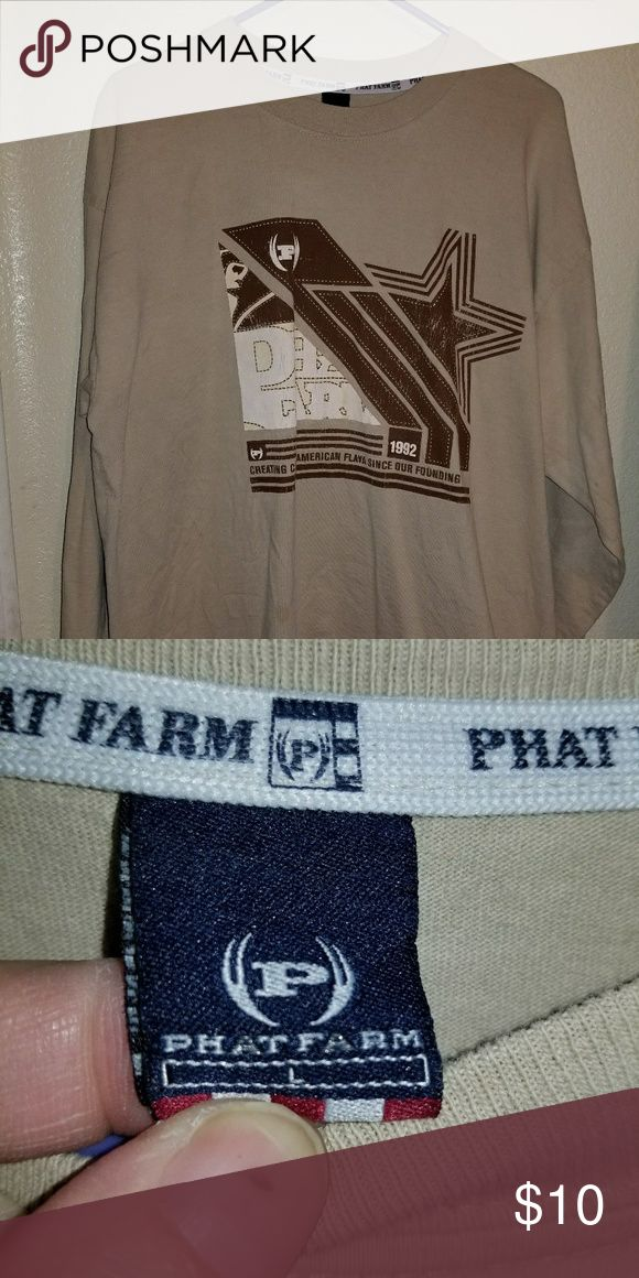 A men's long sleeve top A tan long sleeve mens shirt with a print on the front Phat Farm Shirts