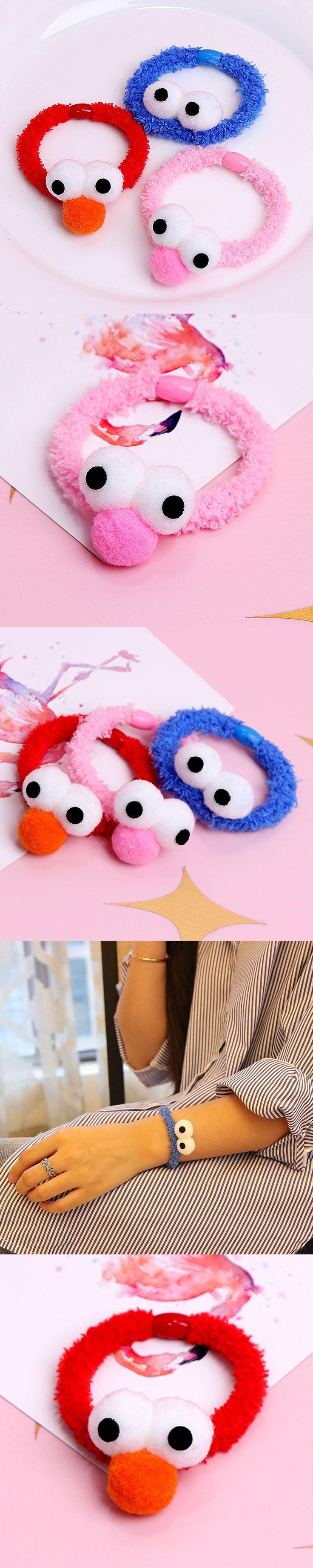 New Korean Cute Cartoon Stereo Plush Big Eyes Headband For Girls Women Lovely Hair Rope Rubber Band Hair Accessories