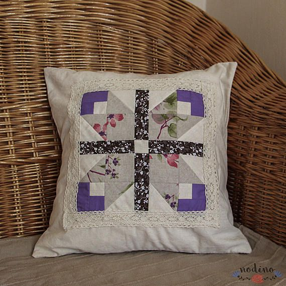 A decorative patchwork pillowcase. This is a very delicate and natural pillowcase. Picture with tulips is applied to a linen base, framed with an ivory lace. Thanks to its neutral appearance it is the perfect choice for all occasions.  • SIZE | 39x39cm / 15,3x15,3 inch • FABRIC | 100% cotton and linen • COLOURS | beige, ivory, purple, pink, brown • 100% handmade • Envelope closure (without buttons, also suitable for children) which makes it easy to insert the pillow • The cover is washab...