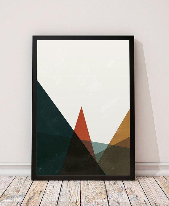 Geometric mountains, Abstract print, Scandinavian print, Watercolor wall art…