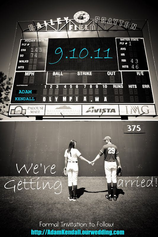 Our Baseball Wedding Save the Dates!!! All created by my dear Husband! Still in love with them (and him too!)!
