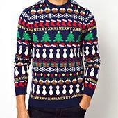 Weihnachtspullover, blau-grün-rot, mit Schneemänner und Tannenbäumen