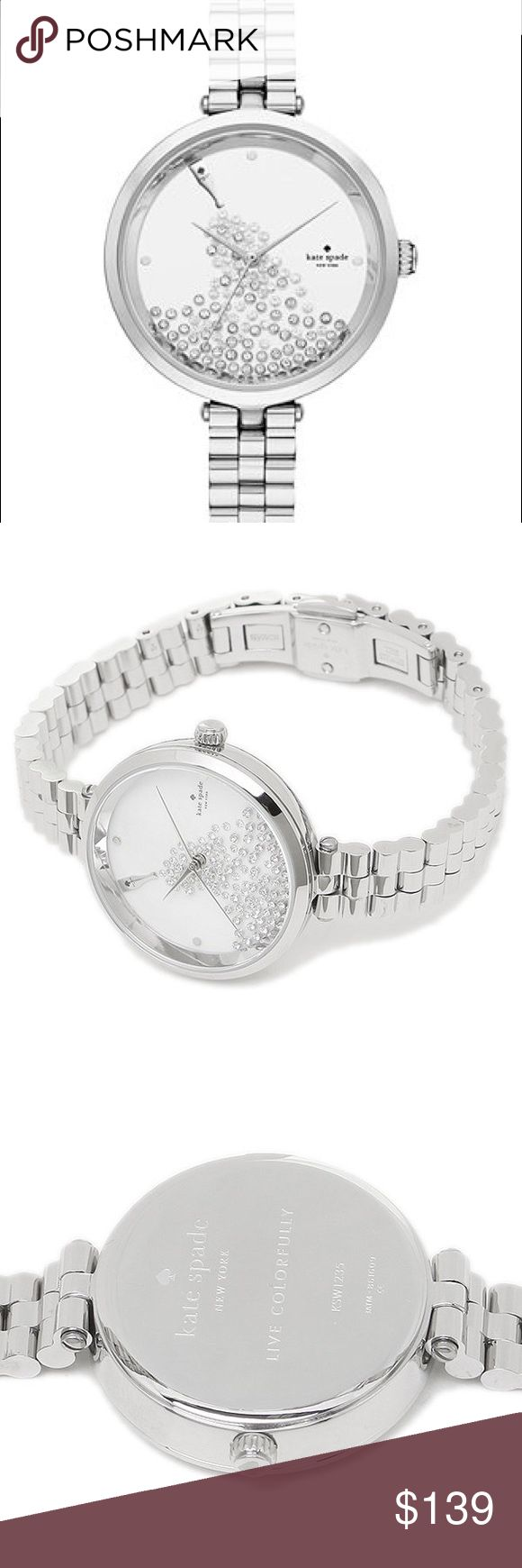 Kate Spade Holland White Crystal Dial Ladies Watch New in box without original tags. Stainless steel case with a stainless steel bracelet. Fixed silver-tone bezel. White, crystal embellished dial with silver-tone hands.Scratch resistant mineral crystal. Pull / push crown.Case size: 34 mm. Case thickness: 8 mm.Band width: 10 mm. Band length: 7 inches. Jewelry clasp. Water resistant at 30 meters / . Dress watch style. Kate Spade Holland White Crystal Dial Ladies Watch KSW1235. kate spade…