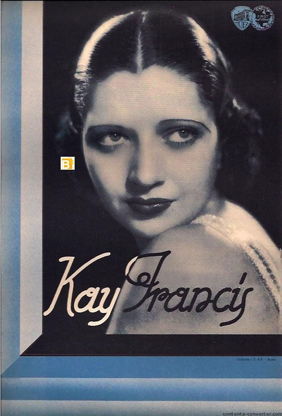 "kay francis | KAY FRANCES"" MOVIE POSTER - ""KAY FRANCES"" MOVIE POSTER"