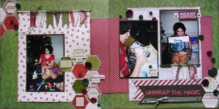Unwrap the Magic double page created with Teresa Collins, Christmas Cottage collection by Teena Hopkins for My Scrappin' Shop.