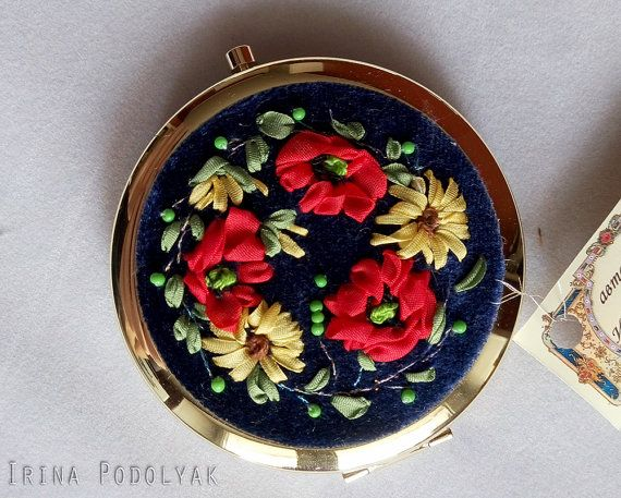 Mirror with Silk Ribbon Hand Embroidery. Authors work.  Materials – pure silk ribbons, vintage exclusive velvet, cotton and silk threads, mirror