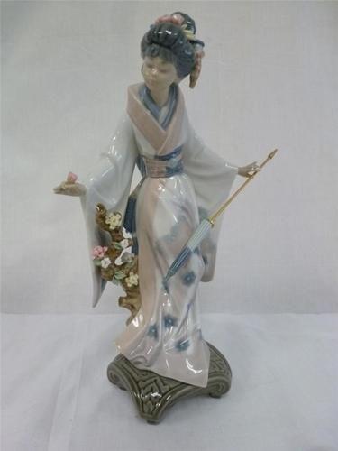 SCARCE 1984 LLADRO PORCELAIN GEISHA STATUETTE JAPANESE GIRL KIMONO PARASOL