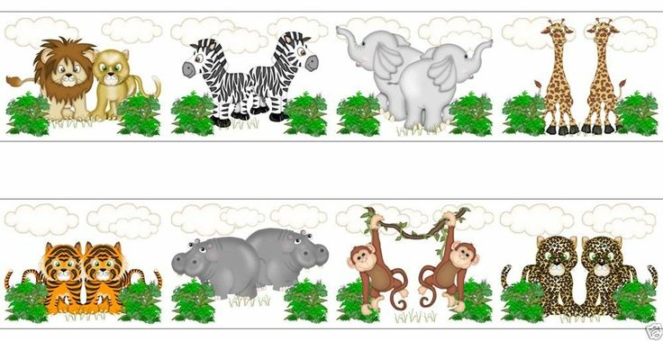 Jungle Animals Wallpaper Wall Art Border Decals for baby ...
