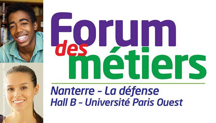 Le Département des Hauts-de-Seine soutient le 1er Forum des métiers Nanterre - La Défense, à destination des collégiens et lycéens de Nanterre, organisé les 12 et 13 janvier 2017 à l'Université Paris-Nanterre par les sept collèges de Nanterre.