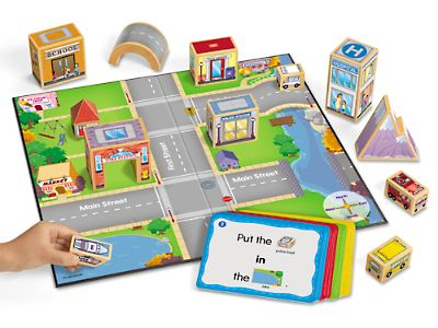 Map-My-Town Learning Center at Lakeshore Learning ($39.99) Use this is a starting point to access understanding of spatial awareness and positional words. Then, encourage children to make their own buildings to create 3D maps of their own neighborhoods.