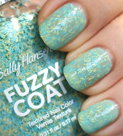 Sally Hansen Fuzzy Coat Fuzz-Sea between layers of Sally Hansen CSM Jaded