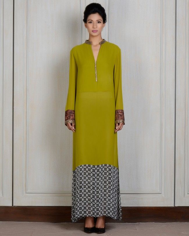 Manish Malhotra - Olive Embroidered Tunic LOVE the colors, proportions - want to inspire a blouse...