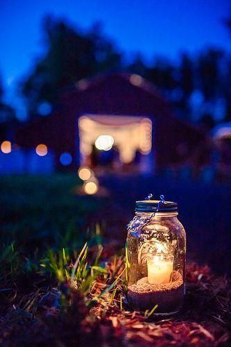 Doors and Lanterns After Dark   Flickr - Photo Sharing! Mason Jar Luminaries; photo by Kimberly Horton Photography.
