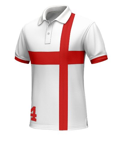 England Men's Polo Shirt - Demonstrate that you are a loyal supporter by wearing this England polo. This white polo contains a red horizontal and vertical stripe. In addition, the hems are red to add some finesse to the polo shirt. http://www.tailor4less.com/en/collections/custom-polo-shirts/world-cup-polo-collection/england-mens-polo-shirt