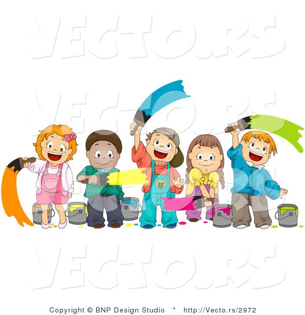 Clip Art Cartoon Kids Painting Mural Vector Of Happy Diverse Together By