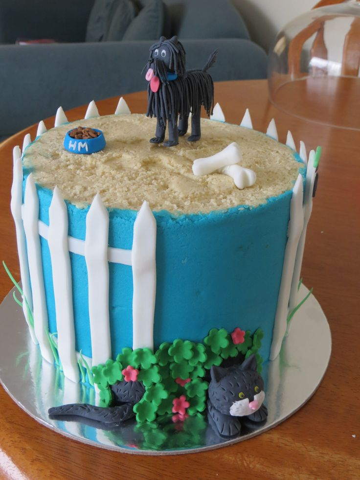 Hairy Maclary cake for a 1st birthday. Has Hairy Maclary and Scarface claw.