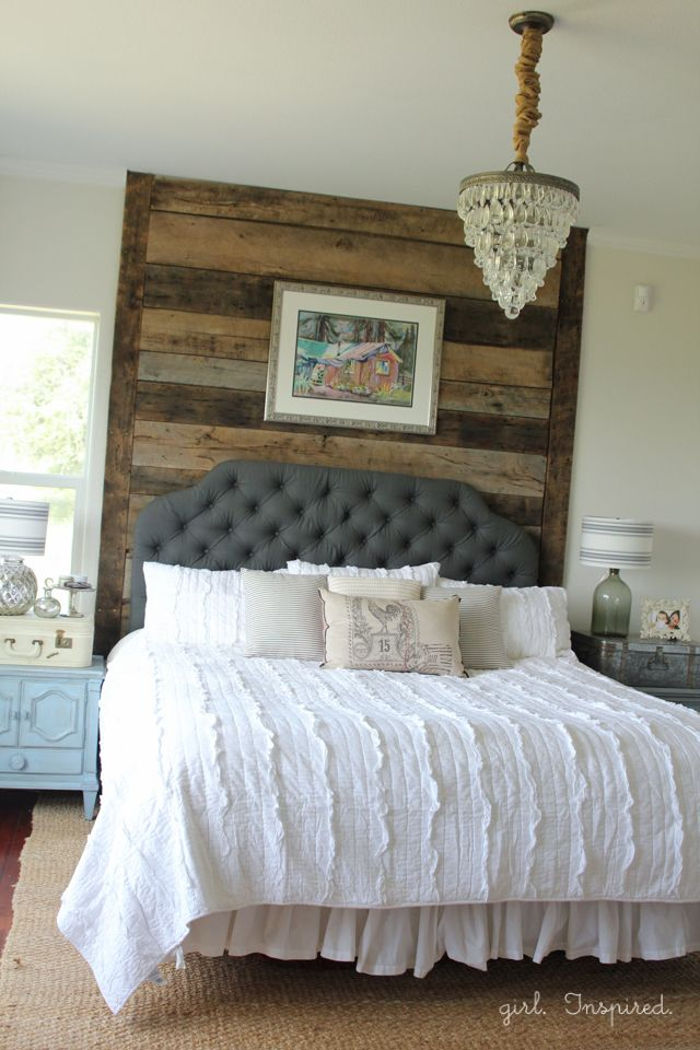 Master bedroom reveal and sherwin williams giveaway for Wooden bed head designs