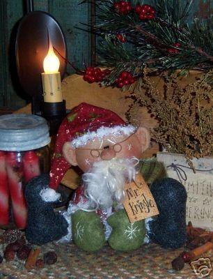 Patti's Ratties Primitive Mr. Kringle Santa Ornie Doll Pattern 263