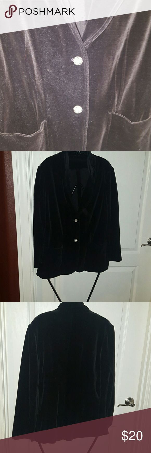 Black velvet blazer Stretch fabric with amazing domed rhinestone  buttons. No tags at all. 2 pockets in front. Jackets & Coats Blazers