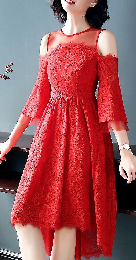 Elegant Off Shoulder Mesh Patchwork Lace Skater Dress  4840697b8