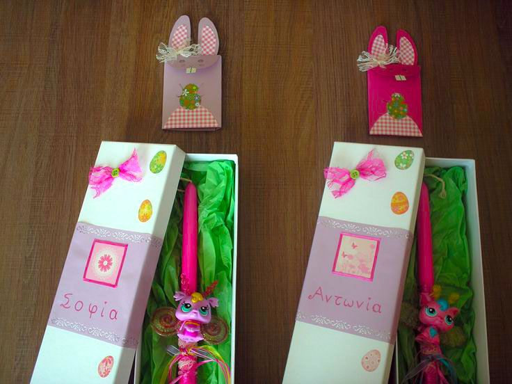 Easter candles and candle boxes handmade by Asimopetra