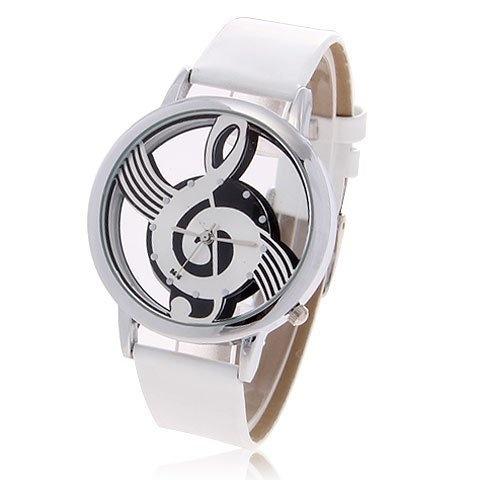 DAMEN Fashion Quartz Uhr mit Music Symbol (Schwarz oder Weiß)