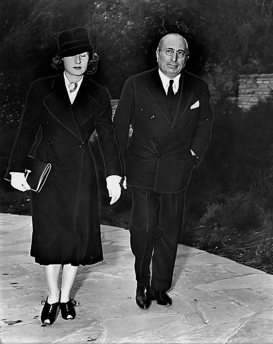 It's Norma! with Louis B. Mayer, attending Jean Harlow's funeral at Forest Lawn Memorial Park in Glendale on June 9, 1937.