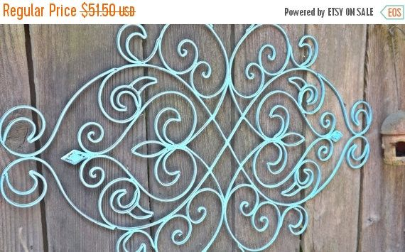 ON SALE Fleur De Lis / Wrought Iron Headboard by Theshabbyshak