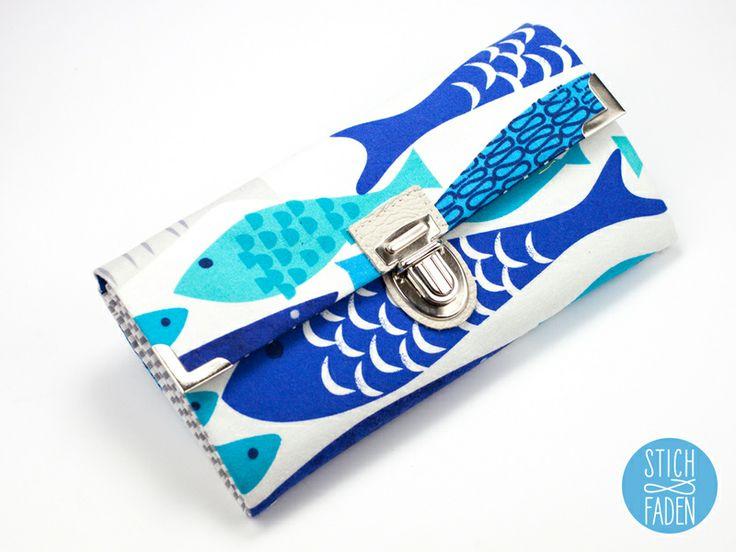 Portemonnaie Geldbörse Fische blau türkis weiß von Stich & Faden auf DaWanda.com