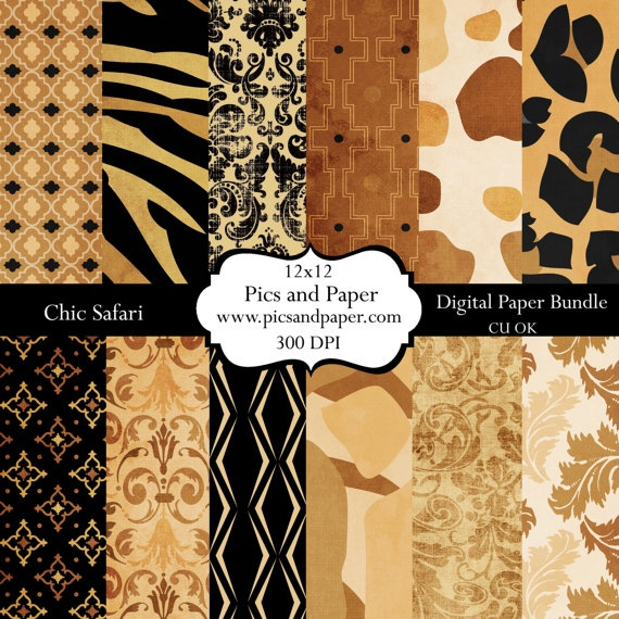 Digital  Scrapbooking  paper Animal Print Safari by PicsandPaper, $4.00